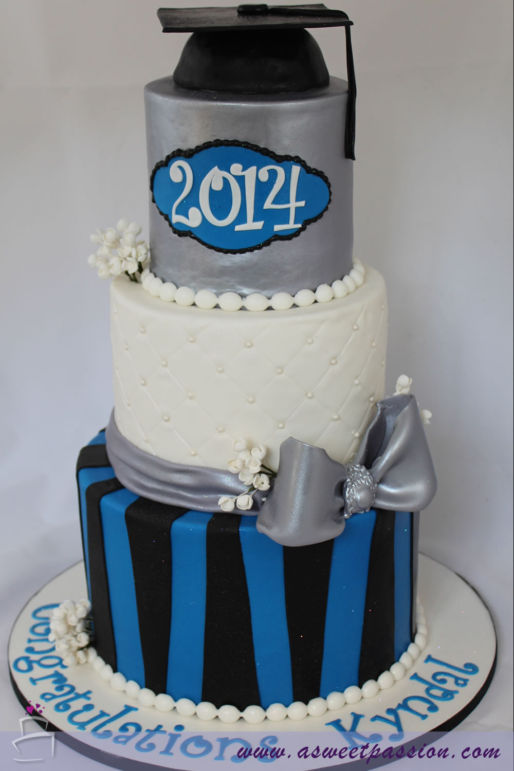 Blue Silver Graduation Cake Sweet Passion Cakery