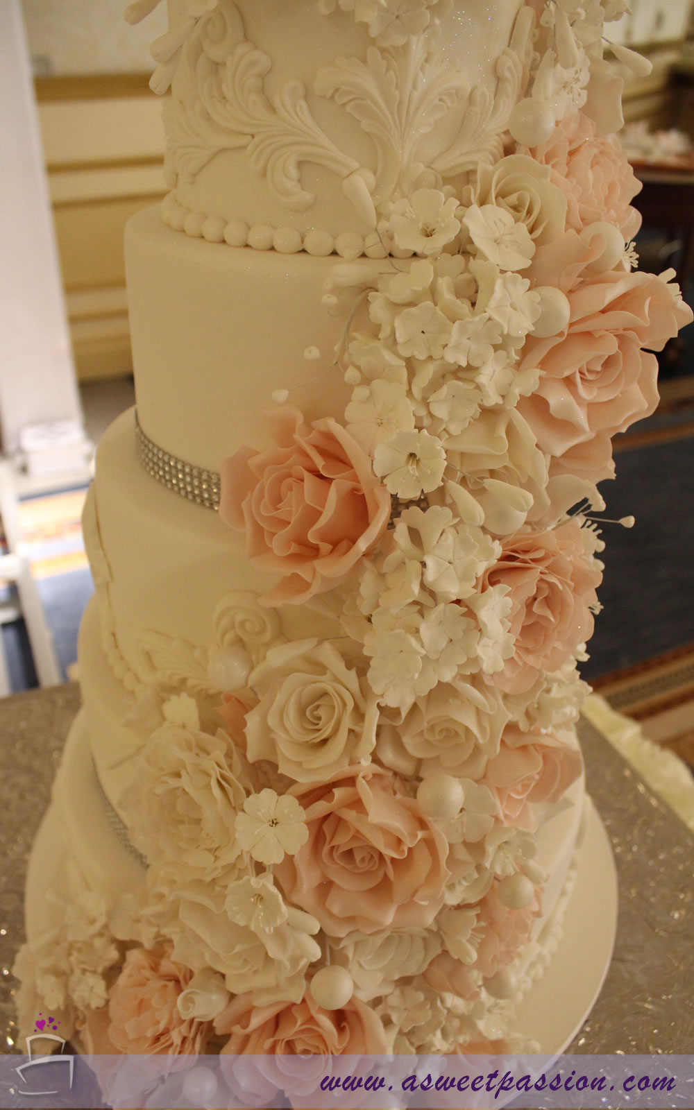 Cascading Flowers Wedding Cake Sweet Passion Cakery