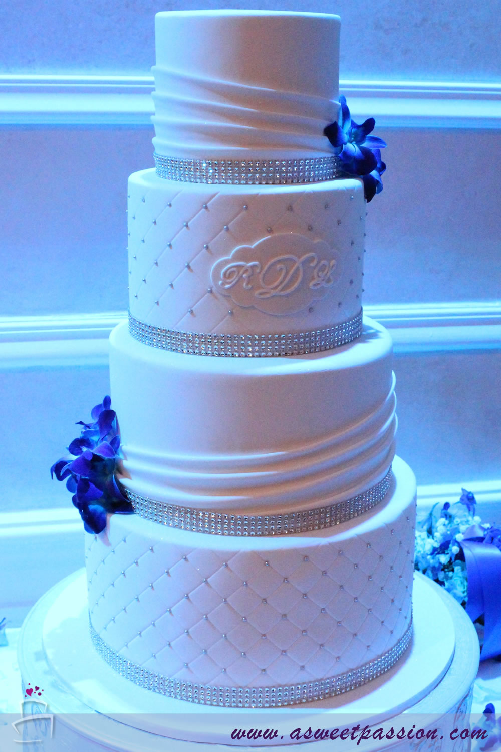 White Bling Wedding Cake – Sweet Passion Cakery