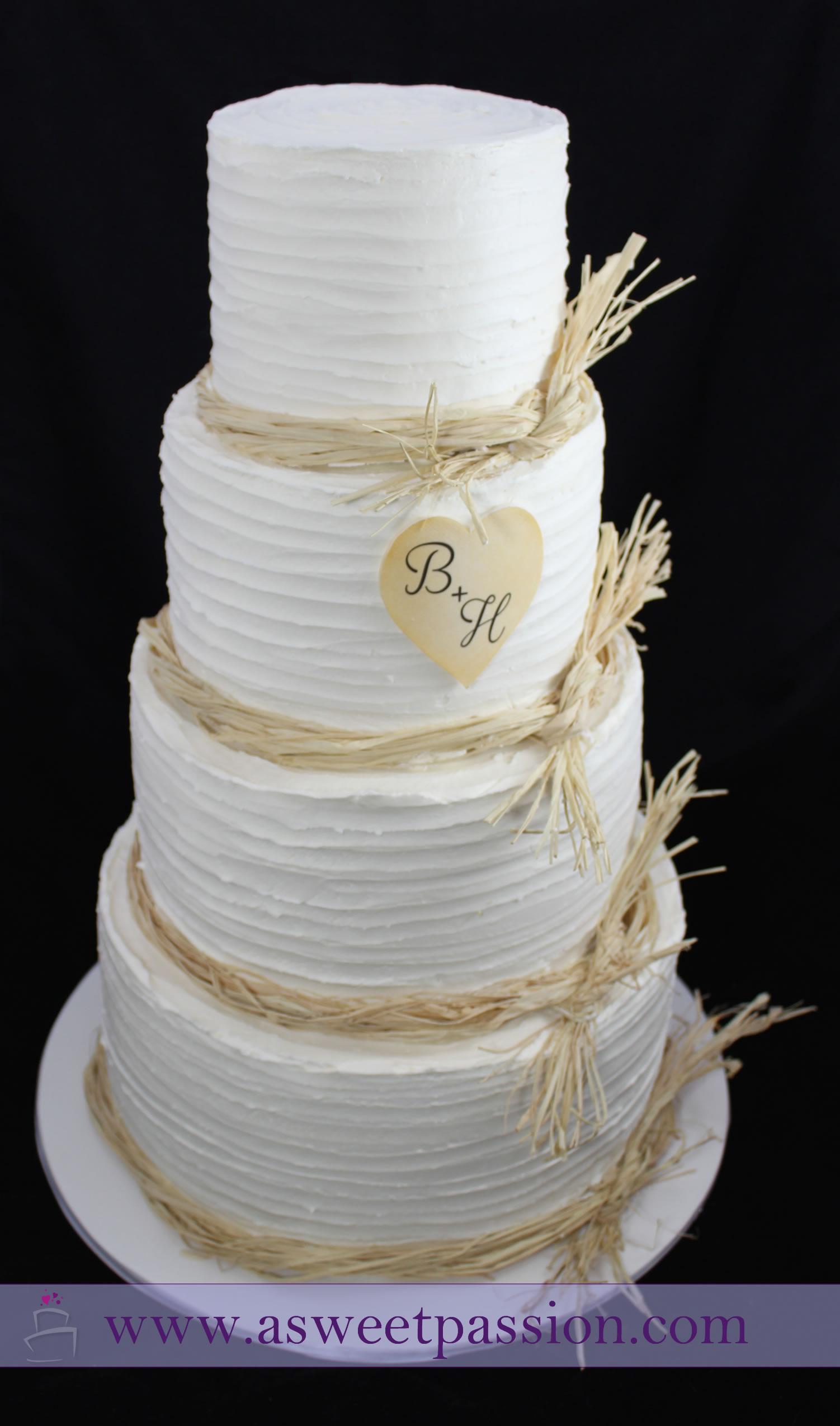 Rustic Buttercream Wedding Cake – Sweet Passion Cakery