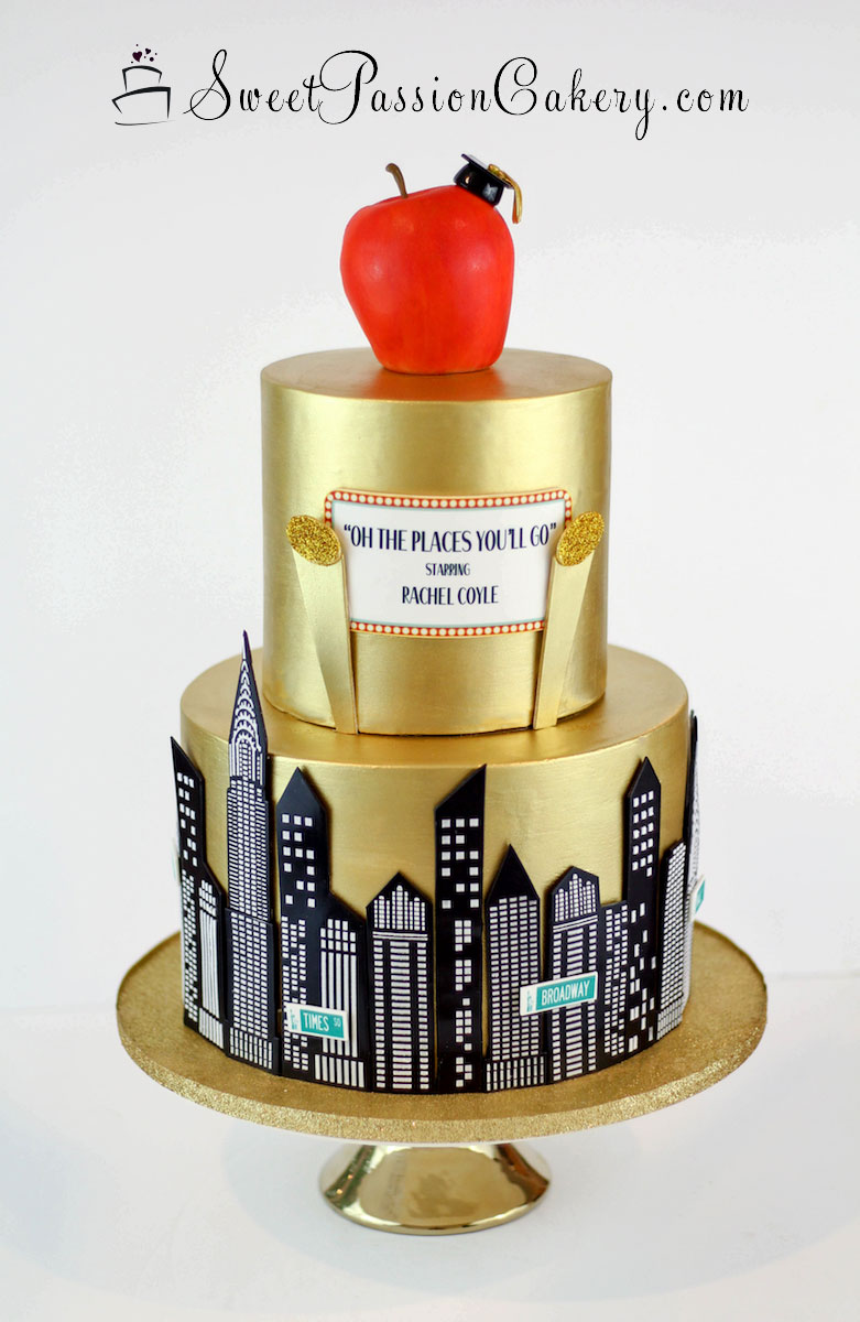 Terrific Gold Nyc Graduation Cake Sweet Passion Cakery Funny Birthday Cards Online Fluifree Goldxyz