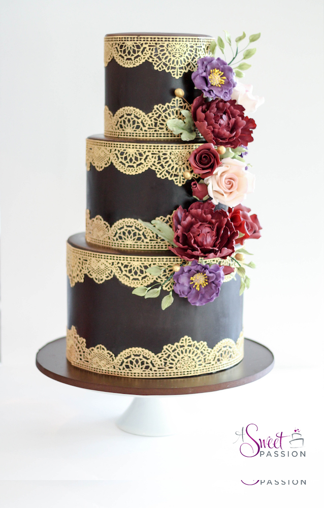 chocolate brown and gold wedding cakes chocolate amp gold lace cake sweet cakery 12689