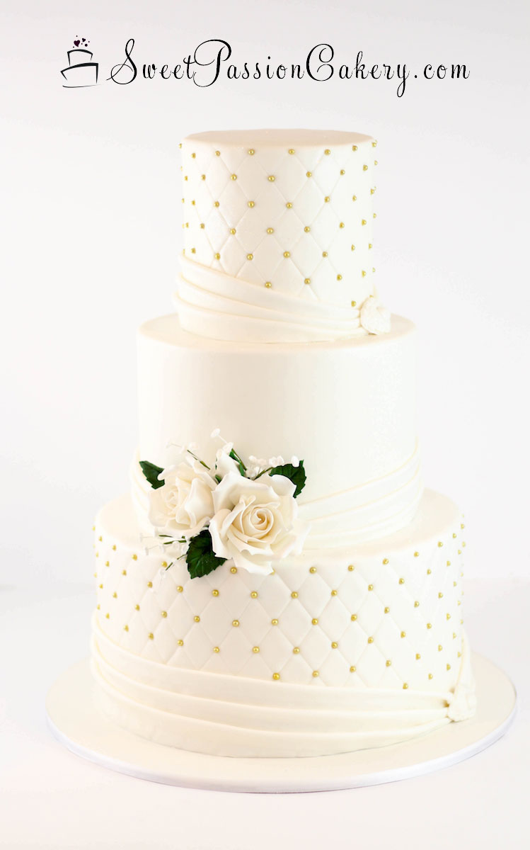 Quilted With Draping Wedding Cakes