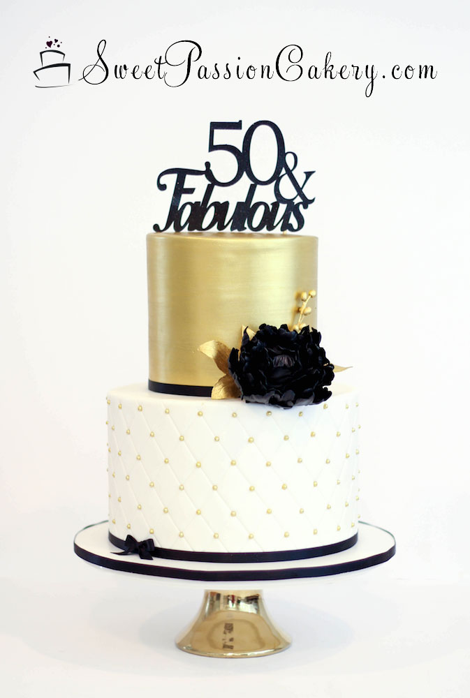 Black White And Gold Sweet  Cake