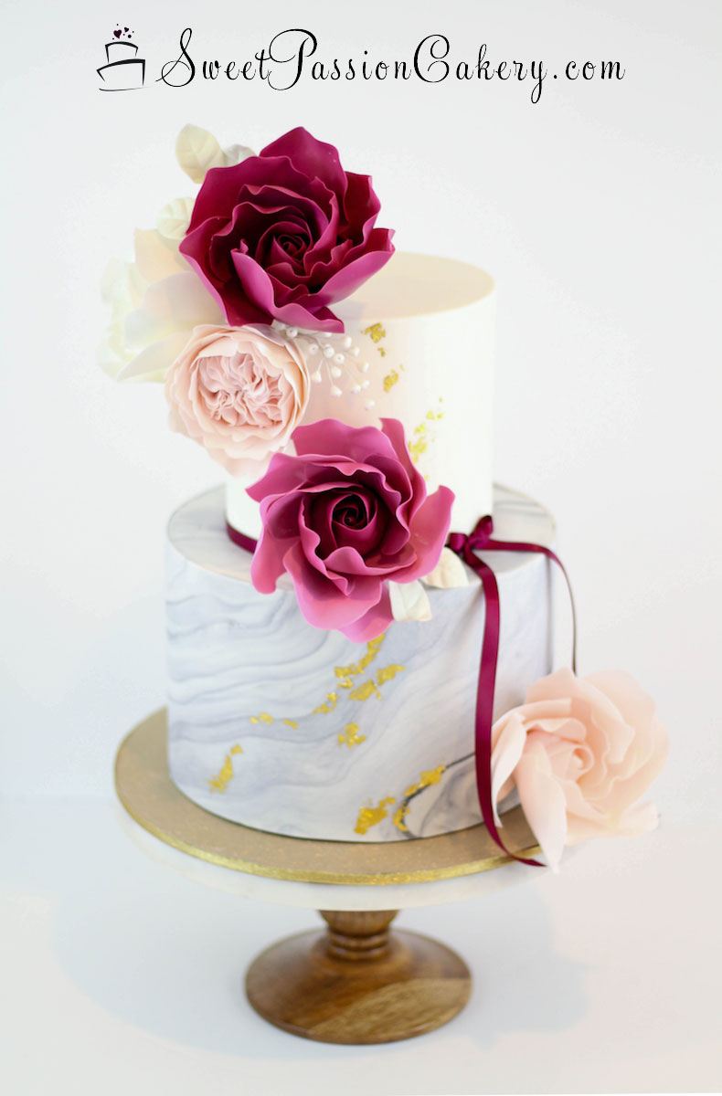 Whimsical Rose Amp Marble Cake Sweet Passion Cakery