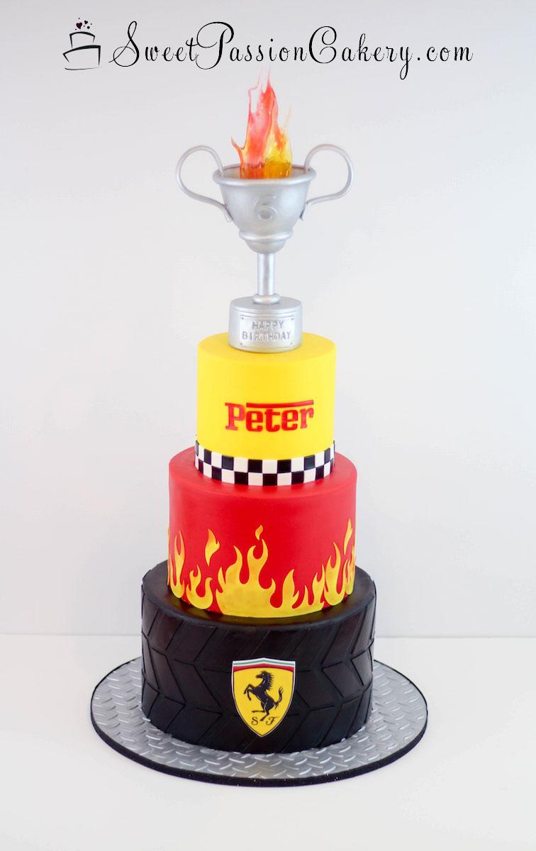 Cool Ferrari Tire Cake Sweet Passion Cakery Funny Birthday Cards Online Ioscodamsfinfo