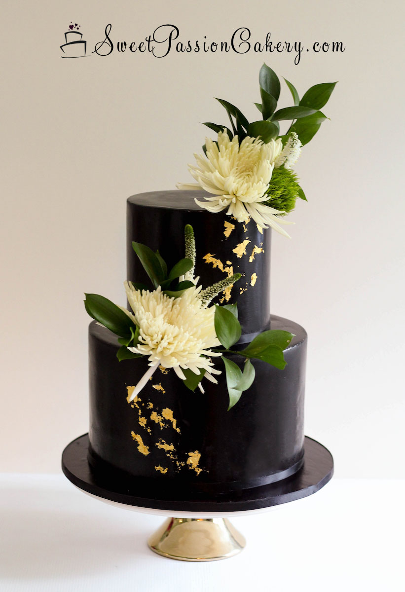 Black & Gold Leaf Cake – Sweet Passion Cakery